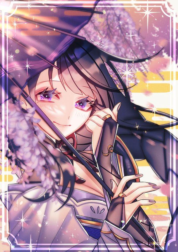 Tags: Anime, Pixiv Id 64364567, Genshin Impact, Raiden Shogun, Wisteria, PNG Conversion