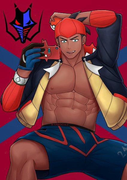 Tags: Anime, Pixiv Id 29146576, Pokémon Sword & Shield, Pokémon, Rotom, Raihan, Rotom Phone, Alternate Appearance, Pixiv, Fanart, Fanart From Pixiv