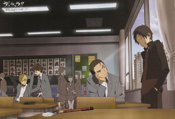 Tags: Anime, Brains Base (Studio), DURARARA!!, Kadota Kyouhei, Heiwajima Shizuo, Kishitani Shinra, Orihara Izaya, Official Art, Scan, Raijin Days