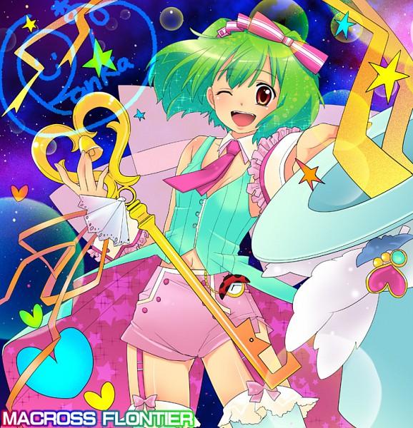 Tags: Anime, Macross Frontier, Ranka Lee, Glowing Hair, Galaxy, Niji Iro Kuma Kuma