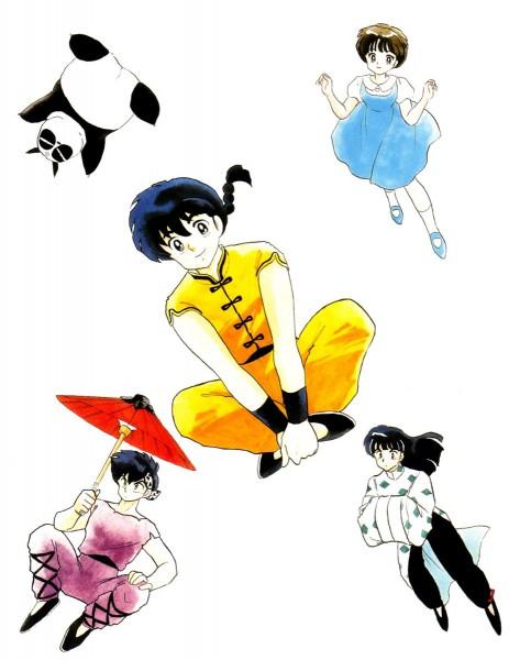 Tags: Anime, Takahashi Rumiko, Ranma ½, Ranma ½ Artbook, Tendo Akane, Mousse, Hibiki Ryoga, Saotome Genma, Saotome Ranma, Official Art