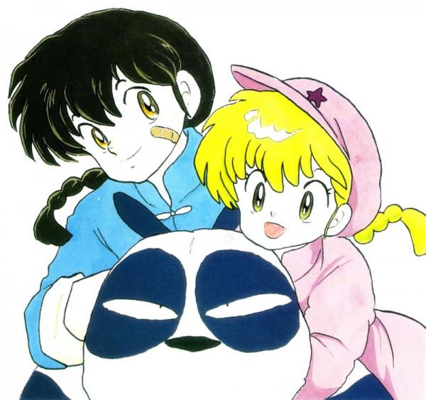 Tags: Anime, Takahashi Rumiko, Ranma ½, Ranma ½ Artbook, Saotome Genma, Saotome Ranma, Saotome Ranma (Girl), Official Art