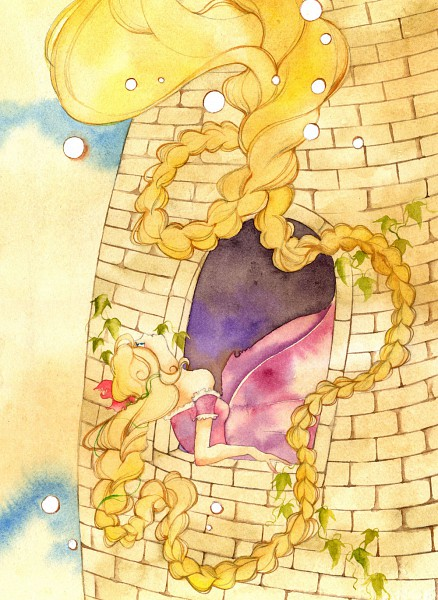 Tags: Anime, Muttiy, Rapunzel, Rapunzel (Character), Tower, Watercolor, Traditional Media, Mobile Wallpaper, Pixiv