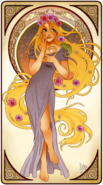 Tags: Anime, Disney, Tangled (Disney), Rapunzel (Character), Rapunzel (Tangled), Pascal (Tangled), Art Nouveau, Lizard, Mobile Wallpaper