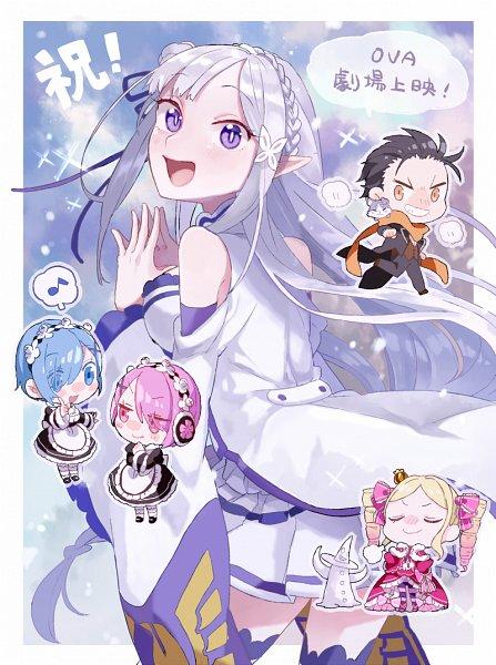 Tags: Anime, Pixiv Id 284986, Re:Zero Kara Hajimeru Isekai Seikatsu, Re:Zero Kara Hajimeru Isekai Seikatsu: Memory Snow, Natsuki Subaru, Ram (Re:Zero), Pack (Re:Zero), Beatrice (Re:Zero), Emilia (Re:Zero), Rem (Re:Zero), Orange Neckwear, Pixiv, Fanart