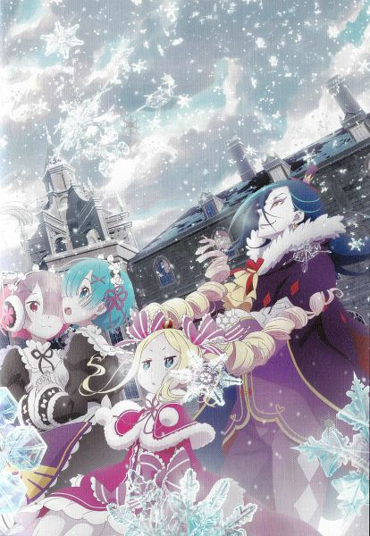 Tags: Anime, WHITE FOX, Re:Zero Kara Hajimeru Isekai Seikatsu, Re:Zero Kara Hajimeru Isekai Seikatsu: Memory Snow, Rem (Re:Zero), Ram (Re:Zero), Beatrice (Re:Zero), Roswaal L. Mathers, Official Art, Scan