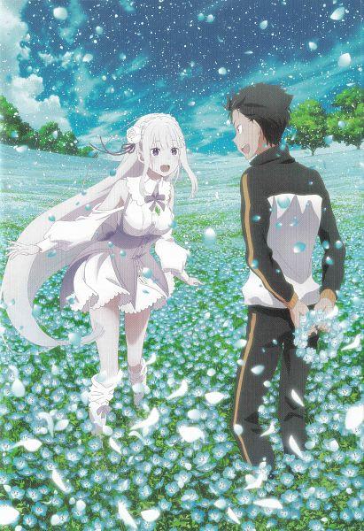 Tags: Anime, WHITE FOX, Re:Zero Kara Hajimeru Isekai Seikatsu, Re:Zero Kara Hajimeru Isekai Seikatsu: Memory Snow, Emilia (Re:Zero), Natsuki Subaru, Official Art, Scan