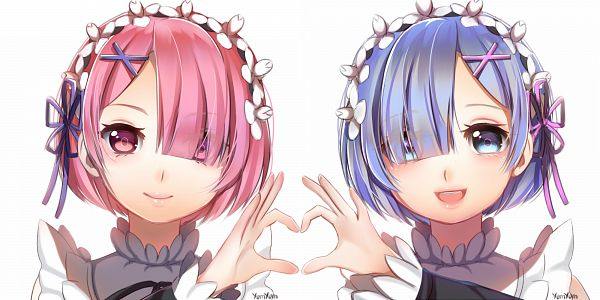 Tags: Anime, xYum-Yumx, Re:Zero Kara Hajimeru Isekai Seikatsu, Ram (Re:Zero), Rem (Re:Zero), Heart Gesture Duo, Wallpaper, PNG Conversion, Re:zero − Starting Life In Another World