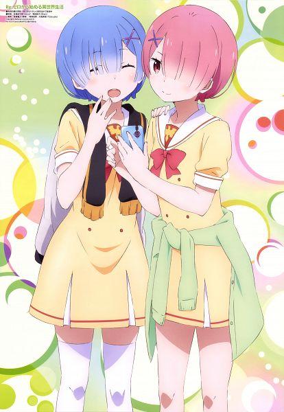 Tags: Anime, WHITE FOX, Re:Zero Kara Hajimeru Isekai Seikatsu, Rem (Re:Zero), Ram (Re:Zero), Scan, Mobile Wallpaper, Official Art, Re:zero − Starting Life In Another World