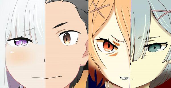 Tags: Anime, Re:Zero Kara Hajimeru Isekai Seikatsu, Rem (Re:Zero), Ram (Re:Zero), Emilia (Re:Zero), Natsuki Subaru, Wallpaper, Re:zero − Starting Life In Another World
