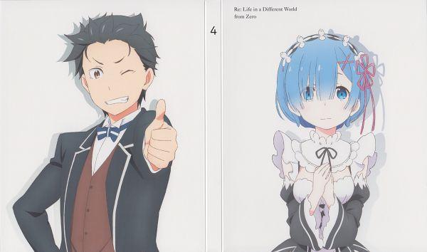 Tags: Anime, Sakai Kyuuta, WHITE FOX, Re:Zero Kara Hajimeru Isekai Seikatsu, Rem (Re:Zero), Natsuki Subaru, Thumbs Up, Official Art, Wallpaper, Scan, DVD (Source), Re:zero − Starting Life In Another World