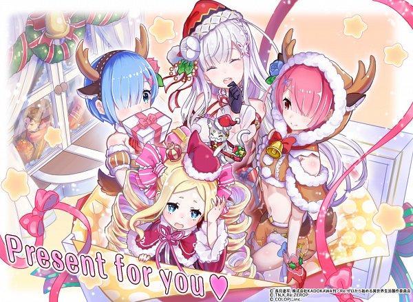 Tags: Anime, COLOPL, Re:Zero Kara Hajimeru Isekai Seikatsu, Shironeko Project, Ram (Re:Zero), Pack (Re:Zero), Beatrice (Re:Zero), Emilia (Re:Zero), Rem (Re:Zero), Mini Crown, Wreath, Oversized Object, Official Art, Re:zero − Starting Life In Another World