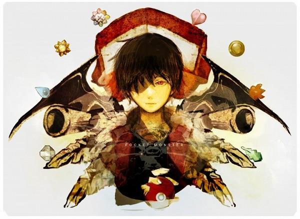 Tags: Anime, Sin Hitonatsu, Pokémon SPECIAL, Pokémon, Red (Pokémon), Blastoise, Venusaur, Charizard, Medal, Badge