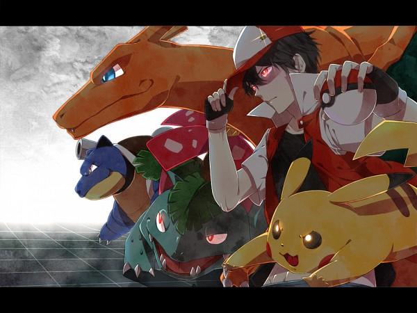 Tags: Anime, Yamabukky, Pokémon, Pikachu, Blastoise, Venusaur, Charizard, Red (Pokémon), Pixiv, Fanart