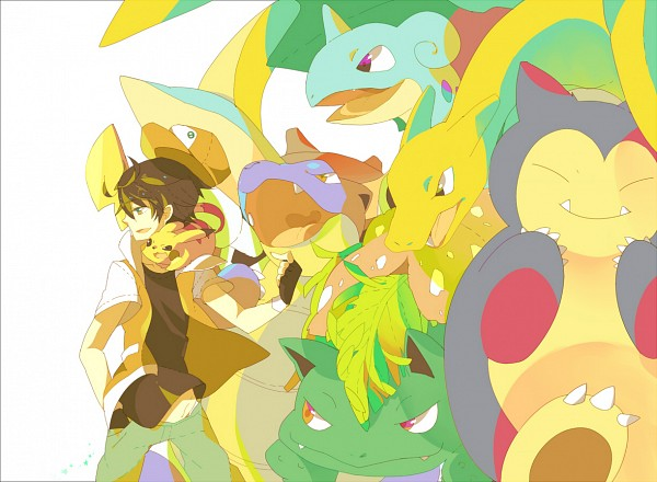 Tags: Anime, Pixiv Id 1481702, Pokémon, Blastoise, Pikachu, Venusaur, Charizard, Red (Pokémon), Snorlax, Lapras