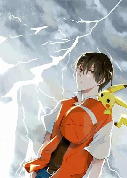 Tags: Anime, Pixiv Id 5164473, Pokémon, Pikachu, Red (Pokémon), Mobile Wallpaper