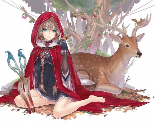 Tags: Anime, Nidy‐2D‐, Red Riding Hood, Red Riding Hood (Character), Berry, Yokozuwari, Deer, Squirrel, Pixiv, Original