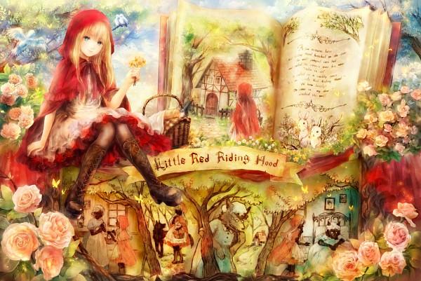 Tags: Anime, Onineko, Red Riding Hood, Red Riding Hood (Character), Grandmother (Red Riding Hood), Big Bad Wolf, Blue Bird, Pixiv, Fanart From Pixiv, Fanart