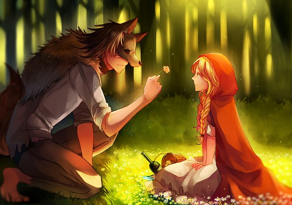 Tags: Anime, Vs41123, Red Riding Hood, Big Bad Wolf, Red Riding Hood (Character), Nervous, Fanart From Pixiv, Pixiv, PNG Conversion, Fanart