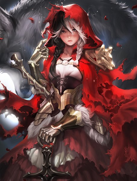 Tags: Anime, Sakimichan, Red Riding Hood, Red Riding Hood (Character), Big Bad Wolf, Laced Up, Knight, deviantART, Fanart, Fanart From DeviantART