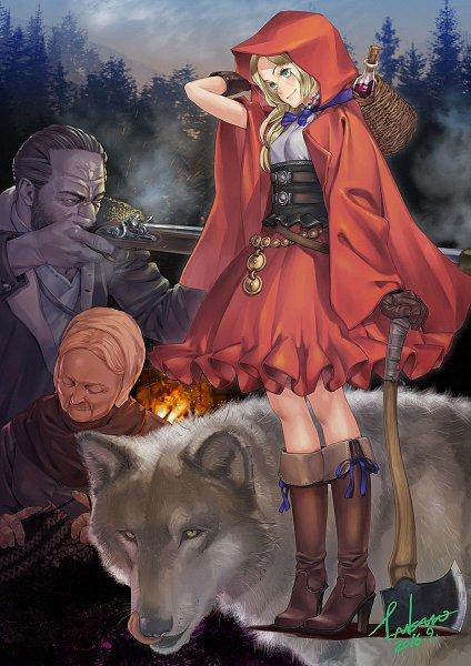Tags: Anime, Pixiv Id 18787, Red Riding Hood, Grandmother (Red Riding Hood), Huntsman (Red Riding Hood), Big Bad Wolf, Red Riding Hood (Character), Fanart, Fanart From Pixiv, Pixiv