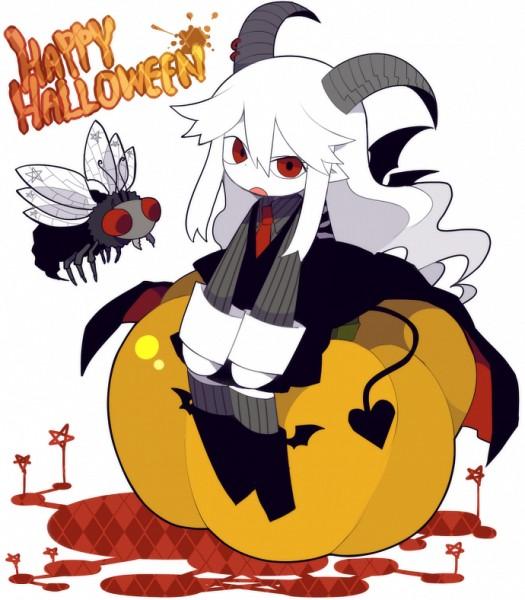 Tags: Anime, Mogeko (Okegom), Gray Garden, Reficul, Sitting On Pumpkin, Official Art