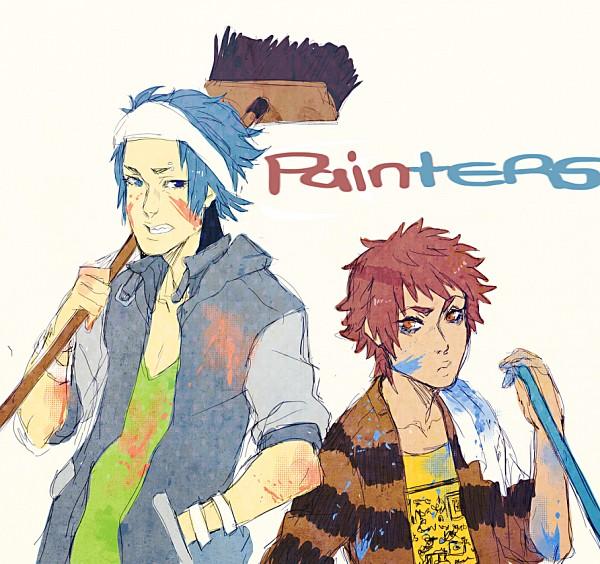 Tags: Anime, Mookie, Regular Show, Mordecai (Regular Show), Rigby, Paint On Face, Towel On Shoulders, Brum, Sketch, Fanart, Tumblr, Studios
