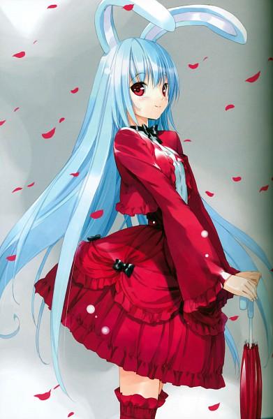 Tags: Anime, Ueda Ryou, Touhou, Reisen Udongein Inaba, Closed Umbrella, Mobile Wallpaper