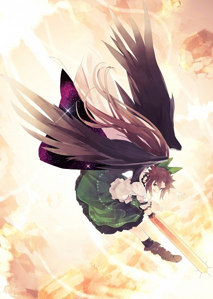 Tags: Anime, Shihou (g-o-s), Touhou, Reiuji Utsuho, Cannon, Sky Print, Arm Cannon, Fanart, Pixiv, Reitaisai, Utsuho Reiuji