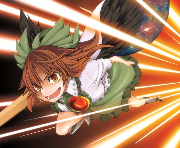Tags: Anime, Uousa, Touhou, Reiuji Utsuho, Green Ribbon, Arm Cannon, Cannon, Laser Beam, Utsuho Reiuji