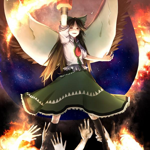 Tags: Anime, Chirigami-san, Touhou, Reiuji Utsuho, Green Ribbon, Arm Cannon, Utsuho Reiuji