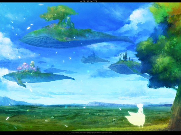 Tags: Anime, Rel, Whale, Aquatic Animal in the Sky, Wallpaper, Pixiv, Original