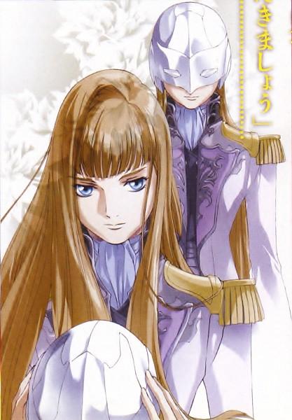 Tags: Anime, Asagi Sakura, Sunrise (Studio), Mobile Suit Gundam Wing, Relena Peacecraft, Official Art, Manga Page, Mobile Wallpaper, Manga Color, Scan