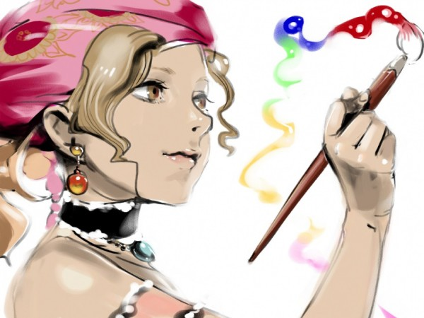 Tags: Anime, Final Fantasy VI, Relm Arrowny, Brush, Painting (Action)