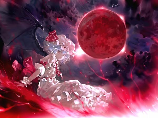 Tags: Anime, Bob (Biyonbiyon), Touhou, Remilia Scarlet, Red Moon, Frilled Cuffs, Spear the Gungnir, Fanart, Wallpaper