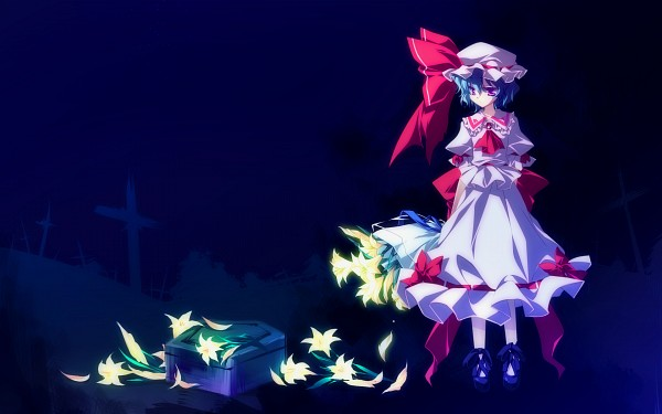 Tags: Anime, Motomiya Mitsuki, Touhou, Remilia Scarlet, Grave, Fanart From Pixiv, Wallpaper, PNG Conversion, Pixiv, Fanart