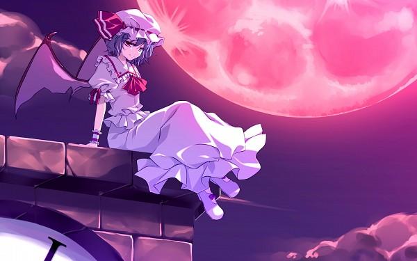 Tags: Anime, Motomiya Mitsuki, Touhou, Remilia Scarlet, Red Moon, Pixiv, Fanart, Fanart From Pixiv, Wallpaper, PNG Conversion
