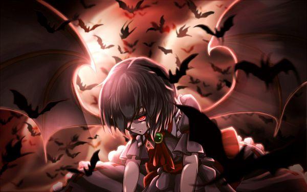 Tags: Anime, Pixiv Id 4386824, Touhou, Remilia Scarlet, Moonbeam, 1600x1000 Wallpaper, Red Sky, Wallpaper, Fanart From Pixiv, Fanart, Pixiv