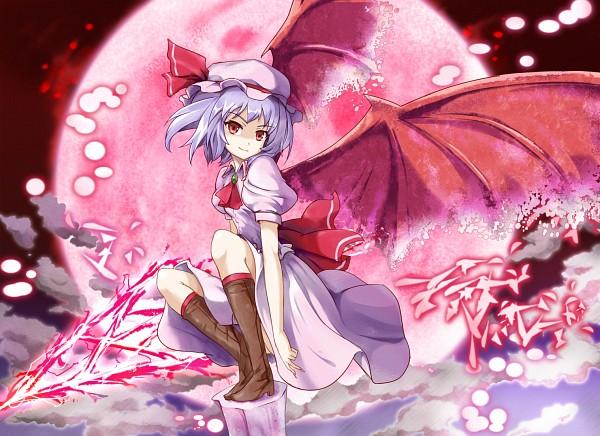 Tags: Anime, Blue Door, Touhou, Remilia Scarlet, Spear the Gungnir, Red Moon, Fanart