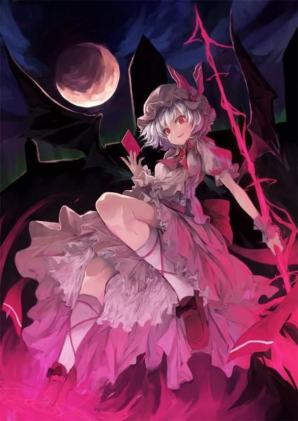 Tags: Anime, Nanahara Fuyuki, Touhou, Remilia Scarlet, Spear the Gungnir, Fanart, Pixiv, Mobile Wallpaper, Revision