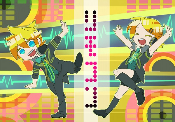 Tags: Anime, Pixiv Id 4690149, Project DIVA F, VOCALOID, Kagamine Len, Kagamine Rin, Project DIVA Receiver, Project DIVA Transmitter, Kagamine Mirrors