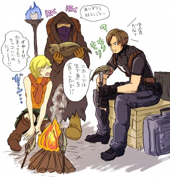 Tags: Anime, Resident Evil 4, Resident Evil, Merchant (Biohazard), Ashley Graham, Leon Scott Kennedy, Steam, Pixiv