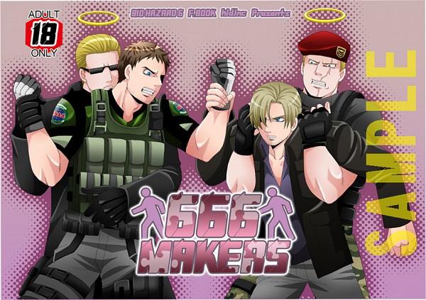 Tags: Anime, Resident Evil, Jack Krauser, Albert Wesker, Chris Redfield, Leon Scott Kennedy, Artist Request, Biohazard