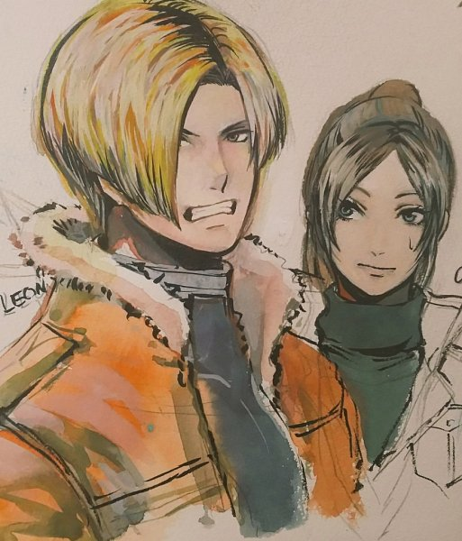 Tags: Anime, Pixiv Id 11133771, Resident Evil 4, Resident Evil 2, Resident Evil, Leon Scott Kennedy, Claire Redfield, Gritted Teeth, Pixiv, Fanart From Pixiv, Fanart, Biohazard