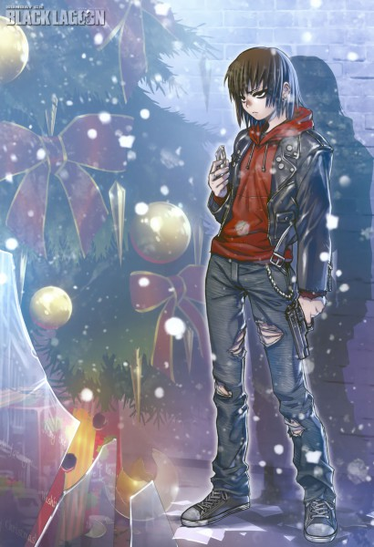 Tags: Anime, Hiroe Rei, Black Lagoon, Revy, Scan, Mobile Wallpaper, Official Art