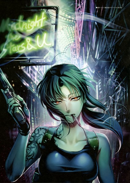 Tags: Anime, Hiroe Rei, Black Lagoon, Revy, Neon Lights, Mobile Wallpaper, Official Art, Scan