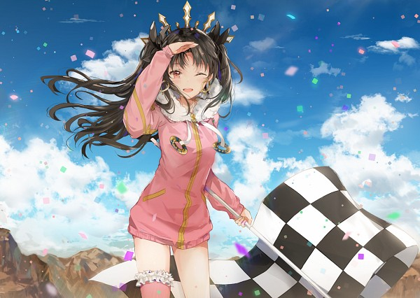 Tags: Anime, Dangmill, Fate/Grand Order, Rider (Ishtar), Tohsaka Rin, Archer (Ishtar), Pink Jacket, Holding Flag, Revision, Pixiv, Fanart, Fanart From Pixiv