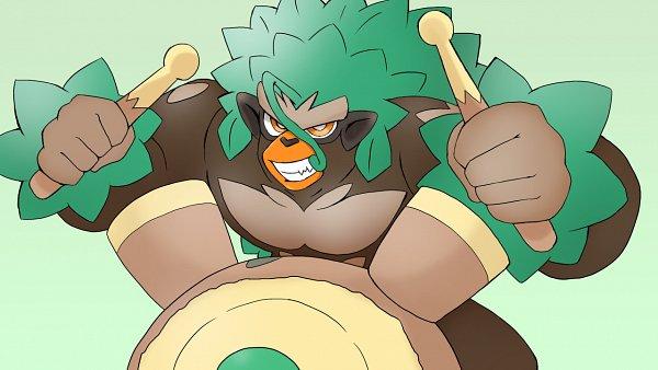 Tags: Anime, Pixiv Id 2014344, Pokémon Sword & Shield, Pokémon, Rillaboom, Drum, Gorilla, Drumsticks, Fanart, Pixiv, Fanart From Pixiv, Wallpaper