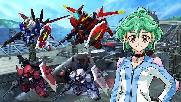Tags: Anime, Mobile Suit Gundam SEED Destiny, SD Gundam G Generation, Yu-Gi-Oh!, Yu-Gi-Oh! ARC-V, Saviour Gundam, Impulse Gundam, Rin (Yu-Gi-Oh! ARC-V), Wallpaper, Edited, Gundams