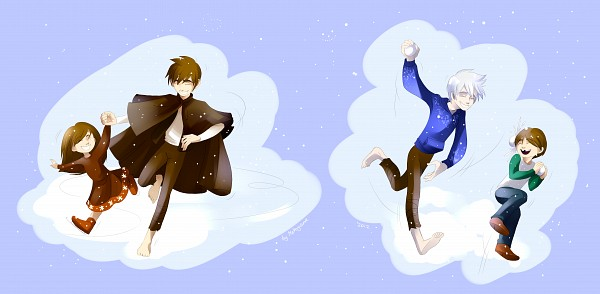 Tags: Anime, Makoyana, Rise of the Guardians, Jamie Bennett, Jack Frost, Jack's Sister, Ice Skates, Snowball, Blue Hoodie, Ice Skating, Facebook Cover, Pixiv, Fanart From Pixiv